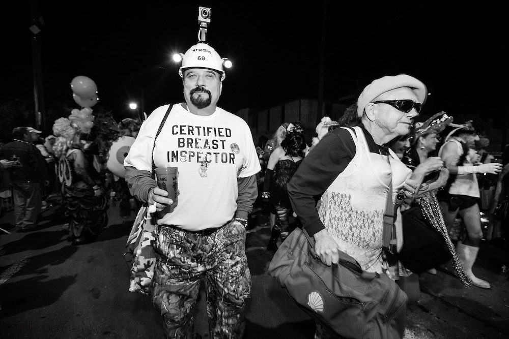 """Feb 15,  New Orleans, LA, Krewe du Vieux Mardi Gras parade that roles through New Orleans Marigny and French Quarter.he 2014  theme was """"Where the Vile Things Are,"""".  Krewe du Vieux is know for it  raucous irreverent satire displayed on the floats and by the Krewe members."""