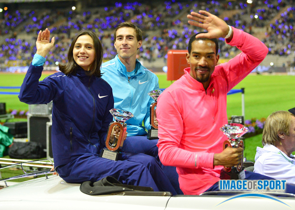 Christian Taylor (USA), Sergey Shubenkov (RUS) and Mariya Lasitskene aka Mariya Kuchina (RUS) pose with the IAAF Diamond League champion triple jump and 110m hurdles and women's high jump trophies during the 42nd Memorial Van Damme at King Baudouin Stadium in Brussels, Belgium on Friday, September 1, 2017. (Jiro Mochizuki/Image of Sport)