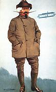 Samuel Franklin Cody (1862-1913) American-born British aviation pioneer. Kite flying instructor to British army. Cody box kite. Died in flying accident. Cartoon from 'Vanity Fair', London, 1 November 1911.