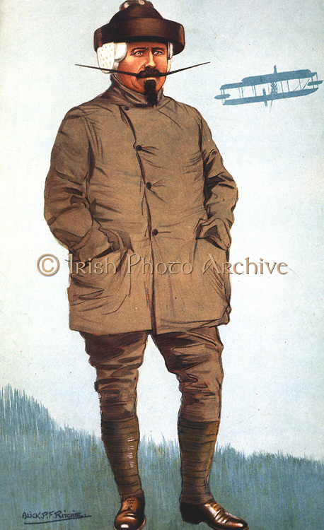 Samuel Franklin Cody (1862-1913) American-born British aviation pioneer. Kite flying instructor to British army. Cody box kite. Died in flying accident. Cartoon from 'Vanity Fair', London, 1 November 1911.