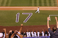 Todd Helton (17) of the Colorado Rockies runs towards first after hitting his 500th homerun out of Coors Field on September 25, 2013.