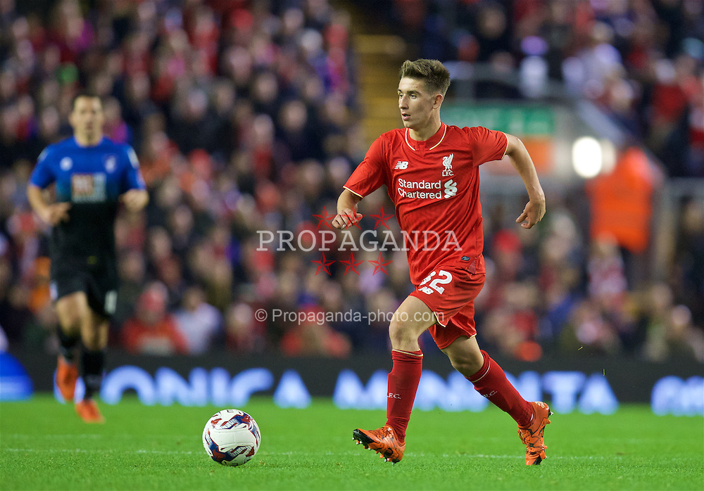 LIVERPOOL, ENGLAND - Wednesday, October 28, 2015: Liverpool's Cameron Brannagan in action against AFC Bournemouth during the Football League Cup 4th Round match at Anfield. (Pic by David Rawcliffe/Propaganda)