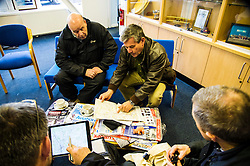 Pictured: Chief pilot of the Civil Air Patrol Scotland, Archie Liggat led the team through the training exercise so that everybody know their role. Pilot Alan Gilruth paid close attention to the briefing.<br /> <br /> Scottish Liberal Democrat leader Willie Rennie took to the skies as he joined the UK Civil Air Patrol for a training flight in Perth. Mr Rennie took the opportunity to set out Liberal Democrat plans to restore local accountability and decision making within Police Scotland. The UK Civil Air Patrol provides airborne assistance for agencies, groups or individuals who would otherwise not have access to such a facility.  Until 2013 the service regularly assisted Police officers with air searches in missing person cases. This ended following the creation of Police Scotland.  <br /> Ger Harley | EEm 12 April 2016