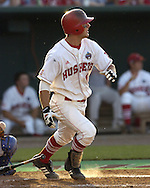 Nebraska third basemen Alex Gordon hits a deep ball to the left field wall against Florida.  Florida defeated Nebraska in the second round of the College World Series 7-4 at Rosenblatt Stadium in Omaha, Nebraska on June 19, 2005.