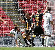 Chris Swailes (c) of Morpeth Town AFC scoring to make it 1-1  during the FA Vase Final at Wembley Stadium, London<br /> Picture by Simon Moore/Focus Images Ltd 07807 671782<br /> 22/05/2016