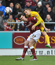 BRISTOL ROVERS TOM LOCKYER HOLDS OF NORTHAMPTONS JOHN MARQUIS, BRISTOL ROVERS TOM LOCKYER HOLDS OF NORTHAMPTONS JOHN MARQUIS, Northampton Town v Bristol Rovers, Sky Bet League Two, Sixfields Stadium, Saturday 9th April 2016, (Score 2-2) Northampton Promoted to League One,