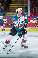 KELOWNA, CANADA - MARCH 3: Cal Foote #25 of the Kelowna Rockets looks for the pass against the Spokane Chiefs on March 3, 2018 at Prospera Place in Kelowna, British Columbia, Canada.  (Photo by Marissa Baecker/Shoot the Breeze)  *** Local Caption ***