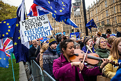© Licensed to London News Pictures. 10/12/2018. London, UK. Musicians protest against Brexit outside Parliament. Photo credit: Rob Pinney/LNP