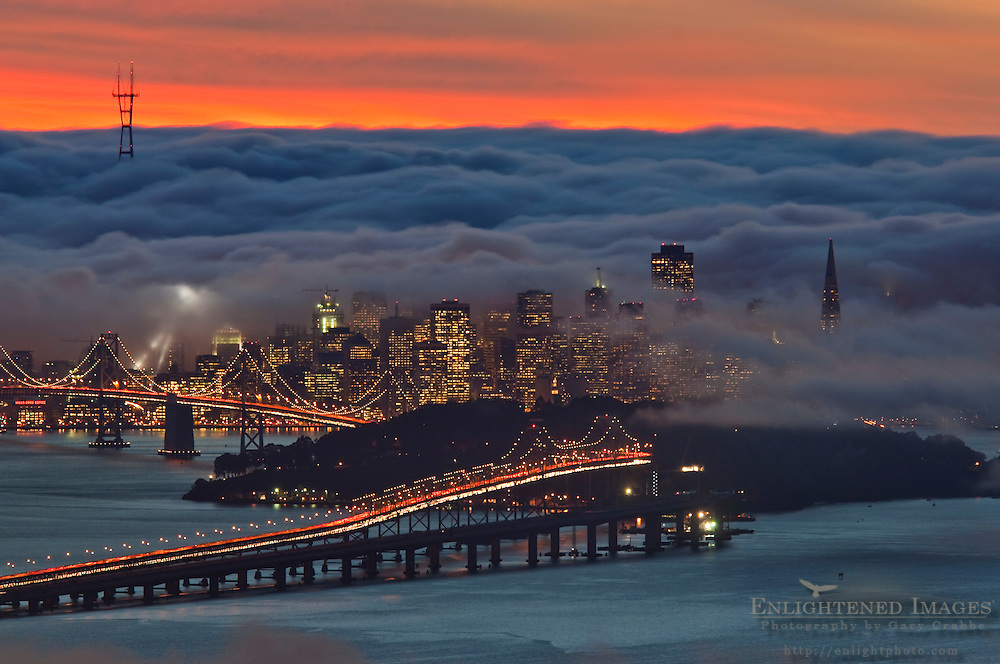 Fog over San Francisco and San Francisco Bay at sunset, California