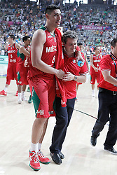 06.09.2014, City Arena, Barcelona, ESP, FIBA WM, USA vs Mexiko, im Bild Mexico's Gustavo Ayon jokes with his coach Sergio Valdeolmillos // during FIBA Basketball World Cup Spain 2014 match between USA and Mexico at the City Arena in Barcelona, Spain on 2014/09/06. EXPA Pictures © 2014, PhotoCredit: EXPA/ Alterphotos/ Acero<br /> <br /> *****ATTENTION - OUT of ESP, SUI*****