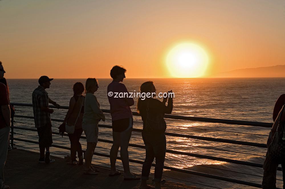 Santa Monica CA Beach, Pier Sunset, Beach, Activities, People,
