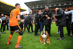 Free to use courtesy of Sky Bet - Barry Douglas and Wolverhampton Wanderers manager Nuno celebrate after lifting the Sky Bet Championship 2017/18 league trophy - Mandatory by-line: Matt McNulty/JMP - 28/04/2018 - FOOTBALL - Molineux - Wolverhampton, England - Wolverhampton Wanderers v Sheffield Wednesday - Sky Bet Championship