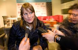 Journalists with Slovenian swimmer Sara Isakovic at press conference when her club PK Zito Gorenjka Radovljica signed a sponsorship contract with a new sponsor Zavarovalnica Triglav, on December 21, 2009, in Zavarovalnica Triglav, Ljubljana, Slovenia. (Photo by Vid Ponikvar / Sportida)