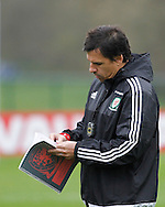 Chris Coleman during the Wales Training at the Vale Resort, Hensol<br /> Picture by Mike Griffiths/Focus Images Ltd +44 7766 223933<br /> 10/11/2015