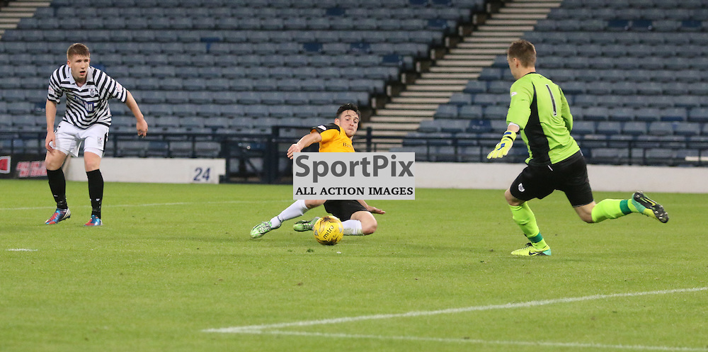 Cawley pounces on a slack back pass but cant make it count during the Queens Park FC V Dumbarton FC Petrofac Training Cup 18th August 201(c) Andy Scott | SportPix.org.uk
