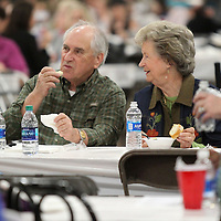 Adam Robison | BUY AT PHOTOS.DJOURNAL.COM<br /> Lenny Baronowski, of Tupelo, enjoys lunch with his friend Charline Hill, of Verona, at the Salvation Army Empty Bowls Luncheon Wednesday in Tupelo.