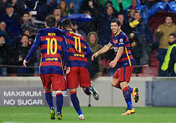 Luis Suarez of Barcelona celebrates after scoring his sides second goal  - Mandatory byline: Matt McNulty/JMP - 16/03/2016 - FOOTBALL - Nou Camp - Barcelona,  - FC Barcelona v Arsenal - Champions League - Round of 16
