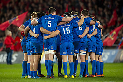 December 30, 2018 - Limerick, Ireland - Leinster players huddled during the Guinness PRO14 match between Munster Rugby and Leinster Rugby at Thomond Park in Limerick, Ireland on December 29, 2018  (Credit Image: © Andrew Surma/NurPhoto via ZUMA Press)