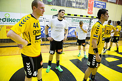 Mitja Nosan of Gorenje, Kristian Beciri of Gorenje, Janez Gams of Gorenje, Luka Dobelsek of Gorenje look rejected after the handball match between RK Gorenje Velenje and RK Celje Pivovarna Lasko in Final match of 1st NLB League - Slovenian Championship 2013/14 on May 23, 2014 in Rdeca dvorana, Velenje, Slovenia. RK Celje Pivovarna Lasko became 18-times Slovenian National Champion. Photo by Vid Ponikvar / Sportida
