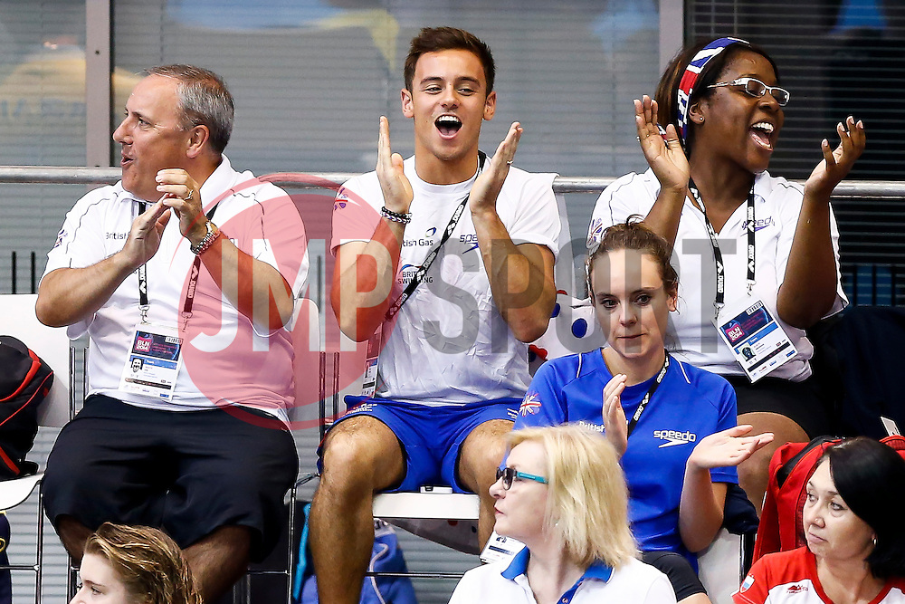 Tom Daley of Great Britain cheers on teammate Sarah Barrow (not pictured)  as she wins Gold in the Womens 10m Platform Final - Photo mandatory by-line: Rogan Thomson/JMP - 07966 386802 - 22/08/2014 - SPORT - DIVING - Berlin, Germany - SSE im Europa-Sportpark - 32nd LEN European Swimming Championships 2014 - Day 10.