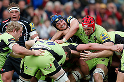 Exeter Chiefs Lock Dean Mumm (capt) and Northampton Lock Christian Day compete in a maul - Photo mandatory by-line: Rogan Thomson/JMP - 07966 386802 - 11/04/2015 - SPORT - RUGBY UNION - Exeter, England - Sandy Park Stadium - Exeter Chiefs v Northampton Saints - Aviva Premiership.