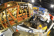 Feb. 27, 2013 - Garden City, New York, U.S. - At the 10th Annual Cradle of Aviation Museum Air & Space Gala, celebrating the 40th Anniversary of Apollo 17, the Cocktail Hour is held in the museum's main Exhibition Hall. 180 degree fish eye lens view from above.