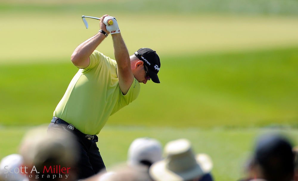 Aug 14, 2009; Chaska, MN, USA; Rory Sabbatini (RSA) hits his tee shot on the 8th hole during the second round of the 2009 PGA Championship at Hazeltine National Golf Club.  ©2009 Scott A. Miller