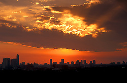 Stock photo of a silhouette of the downtown Houston skyline at sunrise