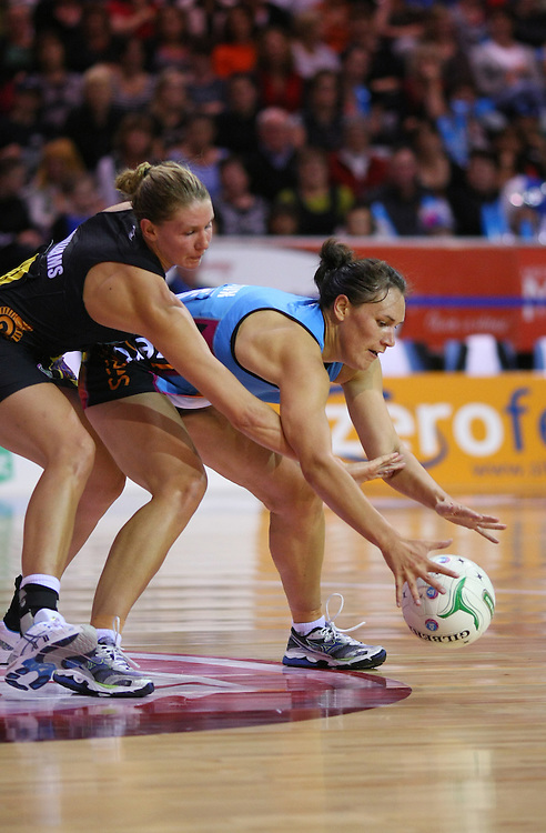Magic's Casey Williams, left, and Southern Steel's Jodi Brown compete for the ball in the ANZ Netball Championships at Invercargill Velodrome, Invercargill, New Zealand, Monday, April 02, 2012. Credit:SNPA / Dianne Manson
