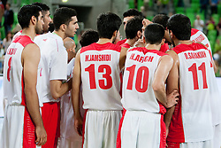 Players of team Iran after basketball match in the context of Telemach tournament between National Teams of Slovenia and Iran on August 21, 2014 in SRC Stozice, Ljubljana, Slovenia. Photo by Urban Urbanc / Sportida.com