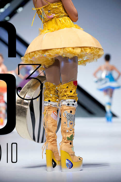 HONG KONG - JANUARY 21:  A model displays a creation of Ameber Leung on the catwalk during the International Fashion Designers' Show II as part of the  Hong Kong Fashion Week Fall/Winter 2010 on January 21, 2010 in Hong Kong.  Photo by Victor Fraile / studioEAST