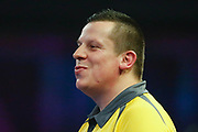 Dave Chisnall enjoys hitting the double to take a leg during the World Darts Championships 2018 at Alexandra Palace, London, United Kingdom on 29 December 2018.