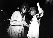 Jazzie B Soul II Soul and Chuck D Public Enemy meet in New York, USA, 1990