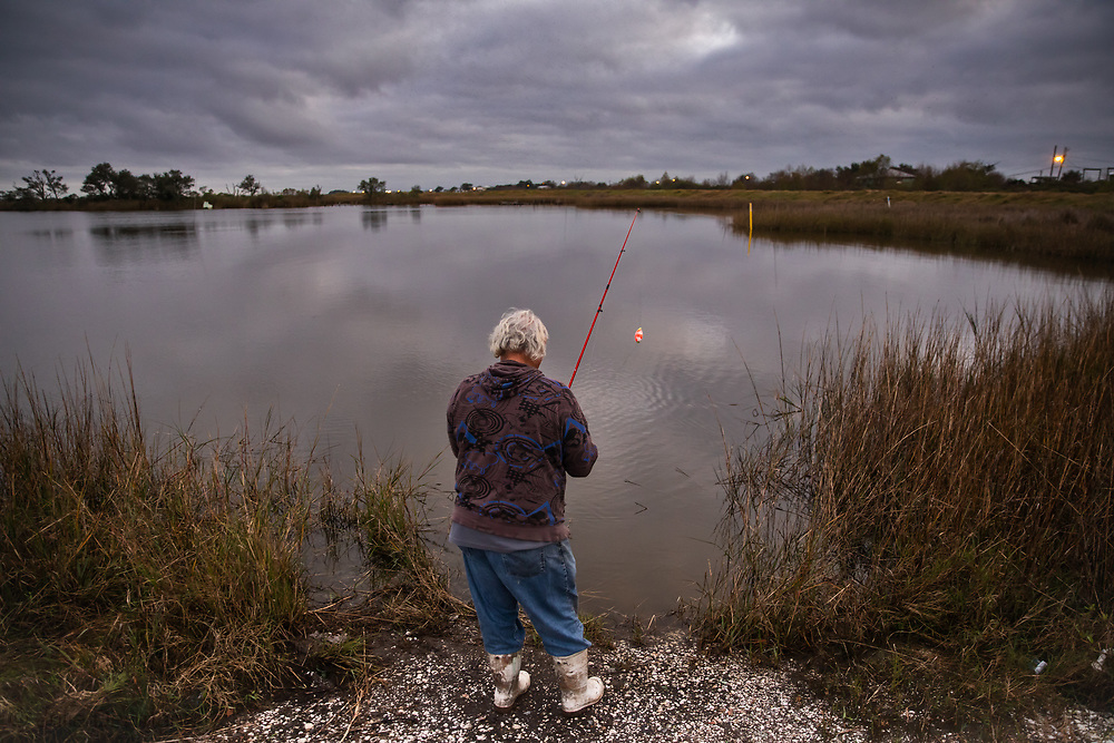 Edison Dardar Jr. fishing on Isle de Jean Charles.