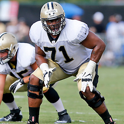 Aug 3, 2013; Metairie, LA, USA; New Orleans Saints tackle Charles Brown (71) during a scrimmage at the team training facility. Mandatory Credit: Derick E. Hingle-USA TODAY Sports