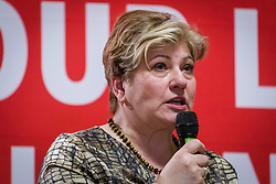 © Licensed to London News Pictures. 13/02/2020. London, UK. Emily Thornberry speaking at the Jewish Labour Movement (JLM) Labour Party leadership hustings held at the Liberal Jewish Synagogue in St John's Wood. The JLM will announce its leadership nomination on Friday February 14th. Photo credit: Vickie Flores/LNP