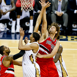 Dec 30, 2013; New Orleans, LA, USA; New Orleans Pelicans power forward Anthony Davis (23) shoots over Portland Trail Blazers center Robin Lopez (42) during the first half of a game at the New Orleans Arena. Mandatory Credit: Derick E. Hingle-USA TODAY Sports