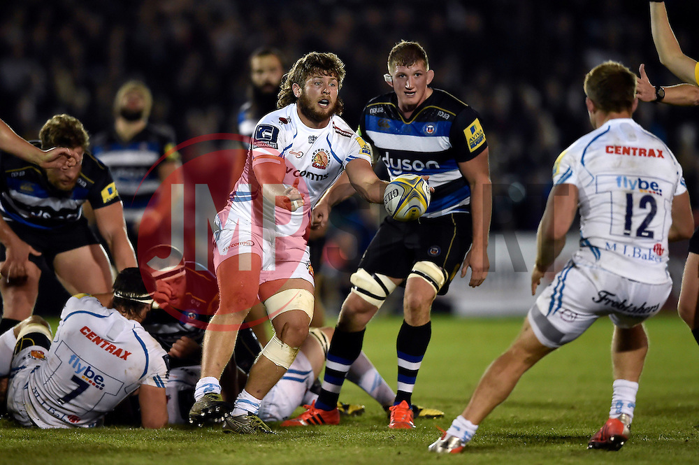 Alex Hepburn of Exeter Chiefs passes the ball - Mandatory byline: Patrick Khachfe/JMP - 07966 386802 - 10/10/2015 - RUGBY UNION - The Recreation Ground - Bath, England - Bath Rugby v Exeter Chiefs - West Country Challenge Cup.