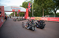 The riders cycle up The Mall in The Prudential RideLondon Handcycle Grand Prix. Saturday 28th July 2018<br /> <br /> Photo: Ian Walton for Prudential RideLondon<br /> <br /> Prudential RideLondon is the world's greatest festival of cycling, involving 100,000+ cyclists - from Olympic champions to a free family fun ride - riding in events over closed roads in London and Surrey over the weekend of 28th and 29th July 2018<br /> <br /> See www.PrudentialRideLondon.co.uk for more.<br /> <br /> For further information: media@londonmarathonevents.co.uk