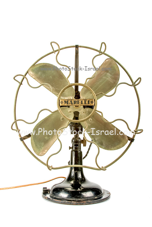 Front view of a vintage fan on white background