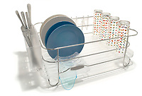 metal dish rack with plastic tray