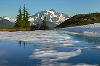 Mount Shuksan seen from partially thawed tarn, Yellow Aster Butte Basin, Mount Baker Wilderness, North Cascades Washington