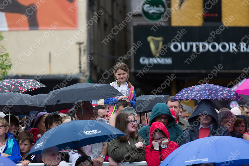 Crowds brave the weather conditions at the launch of Fleadh Cheoil na hEireann