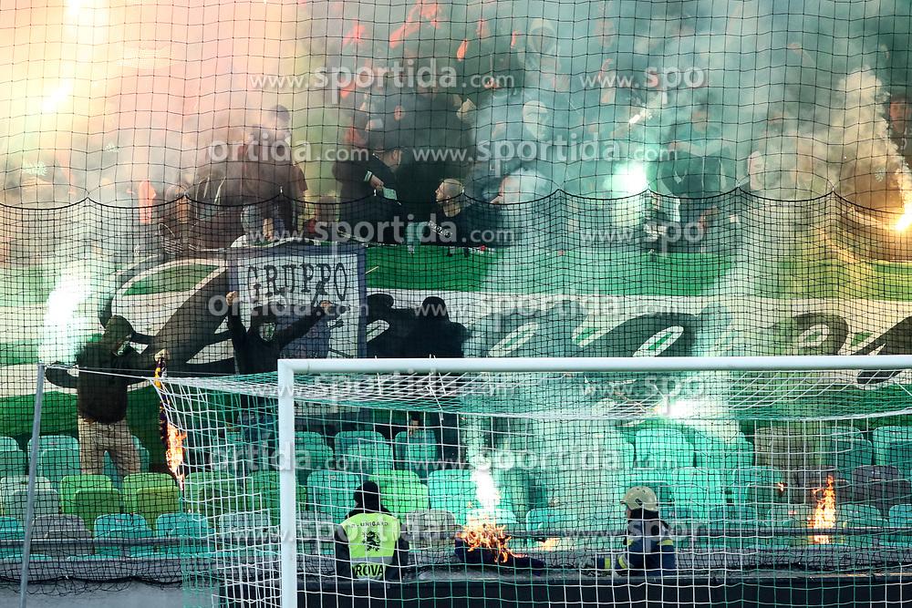 Green Dragons, fans of Olimpija during football match between NK Olimpija and NK Maribor in Round #31 of Prva liga Telekom Slovenije 2016/17, on April 29, 2017 in SRC Stozice, Ljubljana, Slovenia. Photo by Matic Klansek Velej / Sportida