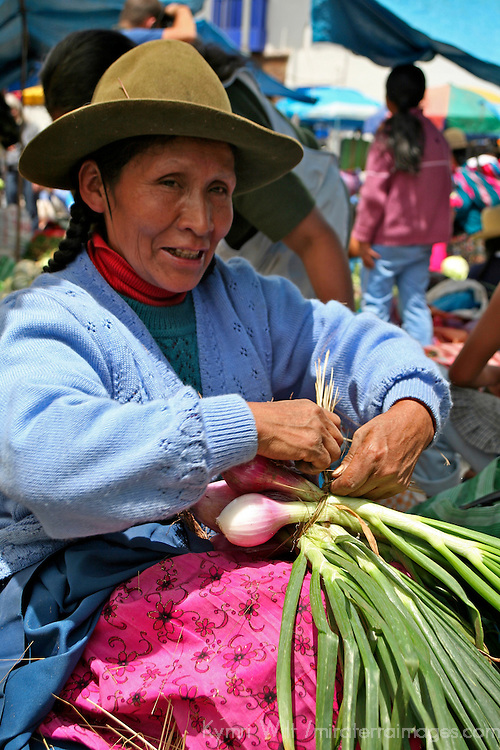 Americas, South America, Peru, Pisac. Onions for sale at Pisac Market.