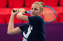 February 11, 2019 - Doha, QATAR - Karolina Pliskova of the Czech Republic practices ahead of the 2019 Qatar Total Open WTA Premier tennis tournament (Credit Image: © AFP7 via ZUMA Wire)