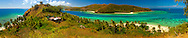 Panorama of a busy day on the eastern side of  Nanuya Balavu island in the Yasawa group. Fiji
