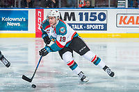 KELOWNA, CANADA - MARCH 7:  Dillon Dube #19 of the Kelowna Rockets skates with the puck against the Vancouver Giants on March 7, 2018 at Prospera Place in Kelowna, British Columbia, Canada.  (Photo by Marissa Baecker/Shoot the Breeze)  *** Local Caption ***