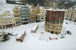 ©  London News Pictures. 18/01/2013. Windsor, UK. A snow covered Piccadilly Circus model London in Mininland at LEGOLAND Windsor resort on January 18, 2013.  Photo credit : Ben Cawthra/LNP