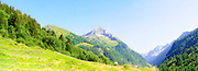 Panorama view of Alpine mountain peak landscape. Photographed in Winnertal, Near Gerlos, Zillertal, Tirol, Austria
